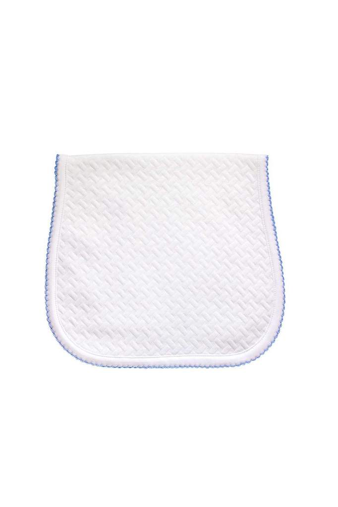PIMA BASKET WEAVE BURP CLOTH - BLUE PICOT TRIM - Made by McNamara