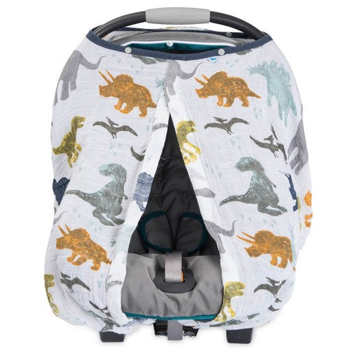 COTTON MUSLIN CAR SEAT CANOPY - DINO FRIENDS - Made by McNamara