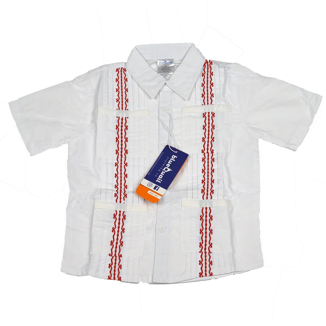 GUAYABERA SHIRT - WHITE & RED - Made by McNamara