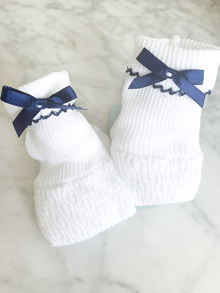 KNIT BOOTIES WITH BOW - NAVY - Made by McNamara