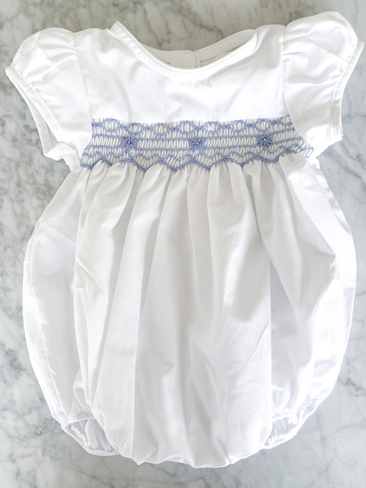 WHITE & BLUE SMOCKED BUBBLE - Made by McNamara