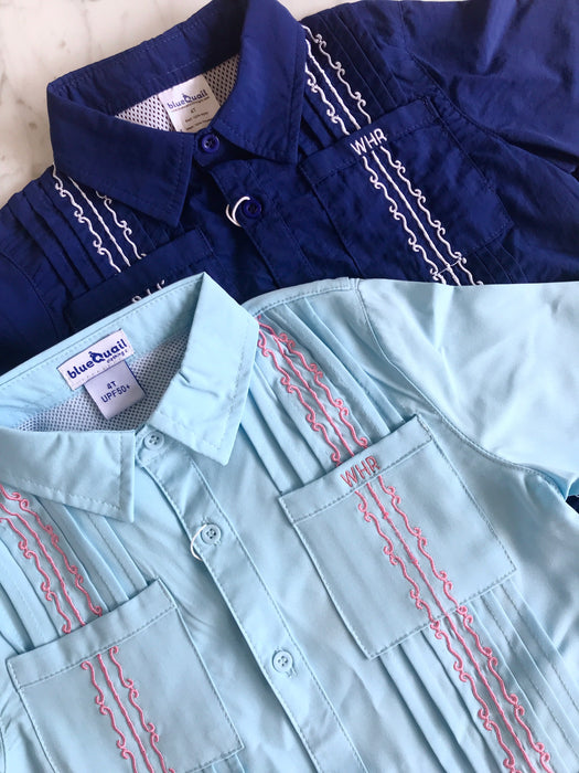 GUAYABERA SHIRT - NAVY & WHITE - Made by McNamara