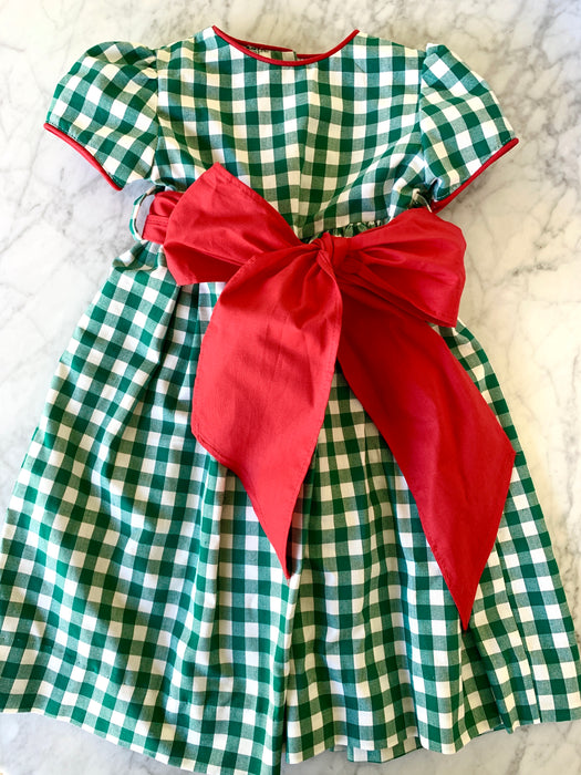 GREEN CHECK WAISTLINE DRESS - Made by McNamara