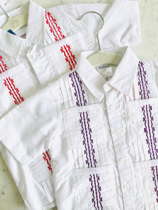 GUAYABERA SHIRT - WHITE & PURPLE