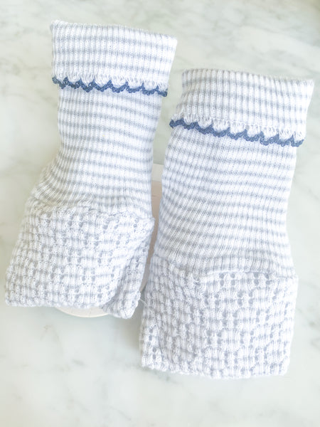 KNIT BOOTIES - GREY STRIPE WITH NAVY TRIM - Made by McNamara