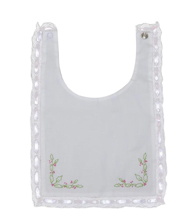 ADORE HIM - HEIRLOOM BIB, WHITE WITH PINK RIBBON - Made by McNamara