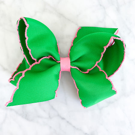 SMALL MOONSTITCH BOW - GREEN WITH PINK - Made by McNamara