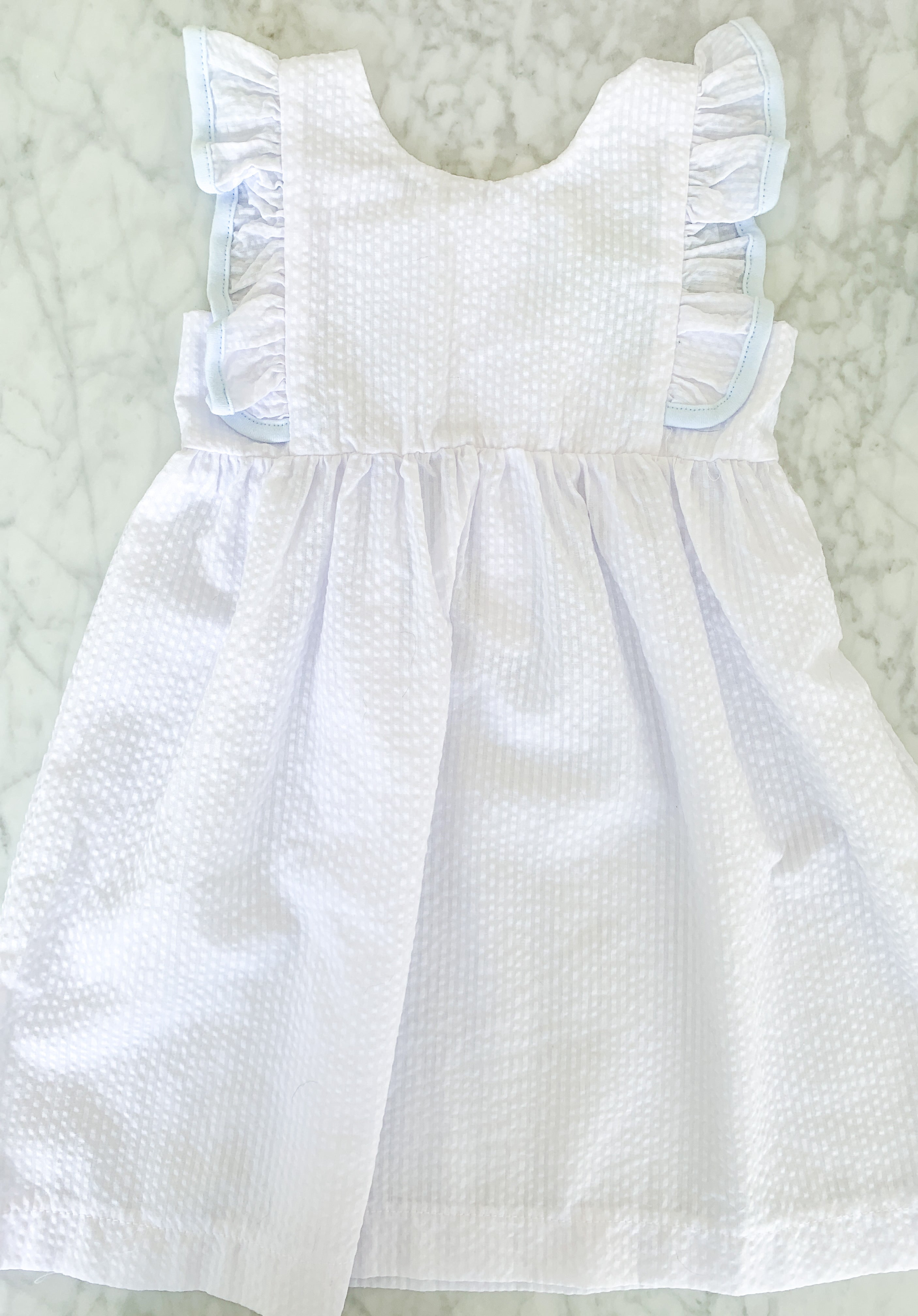 RUFFLED SLEEVE SEERSUCKER DRESS - WHITE WITH BLUE TRIM - Made by McNamara
