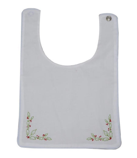 ADORE HIM - HEIRLOOM BIB, WHITE WITH BLUE PIPING - Made by McNamara