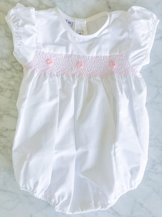 WHITE & PINK SMOCKED BUBBLE - Made by McNamara