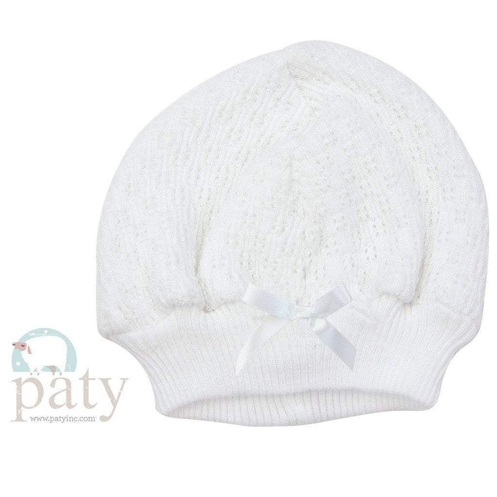 KNIT CAP WITH BOW - WHITE - Made by McNamara