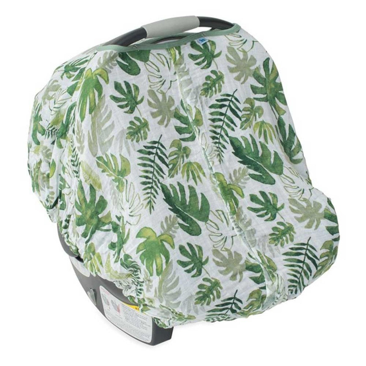 COTTON MUSLIN CAR SEAT CANOPY - TROPICAL LEAF - Made by McNamara