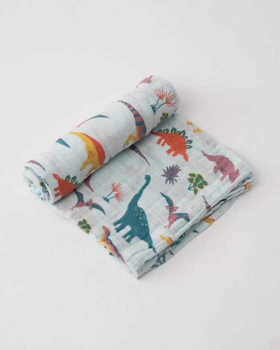 COTTON MUSLIN SWADDLE - EMBROIDOSAURUS - Made by McNamara
