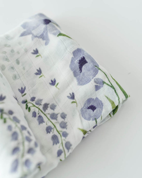 DELUXE MUSLIN SWADDLE - BLUE WINDFLOWER - Made by McNamara