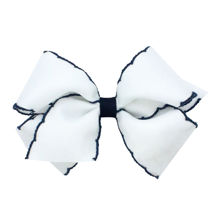 SMALL MOONSTITCH BOW - WHITE WITH NAVY - Made by McNamara
