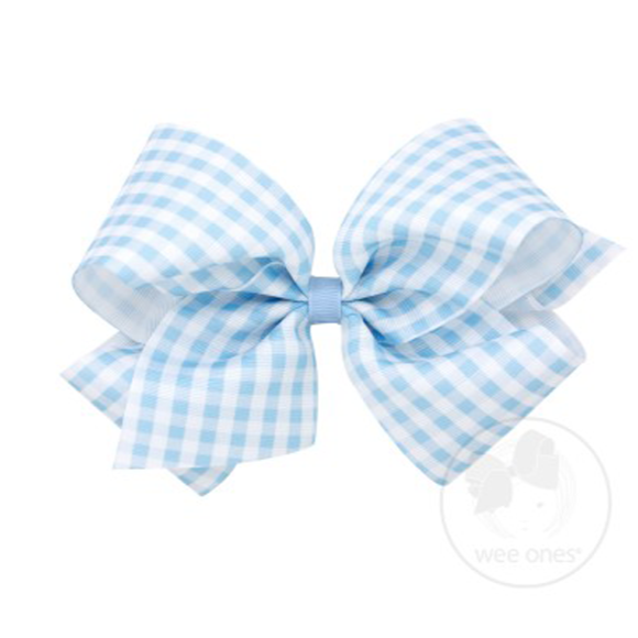 LARGE GINGHAM BOW - BLUE - Made by McNamara