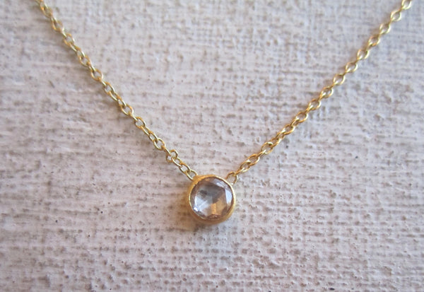 Rose Cut Diamond Necklace | Round Shape