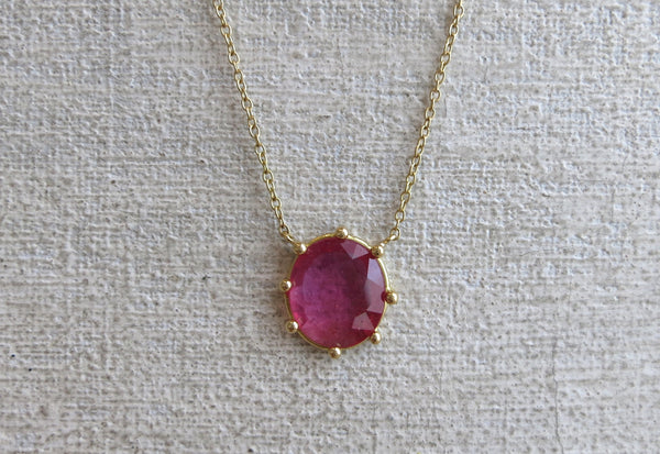 Rose Cut Ruby Prong Necklace