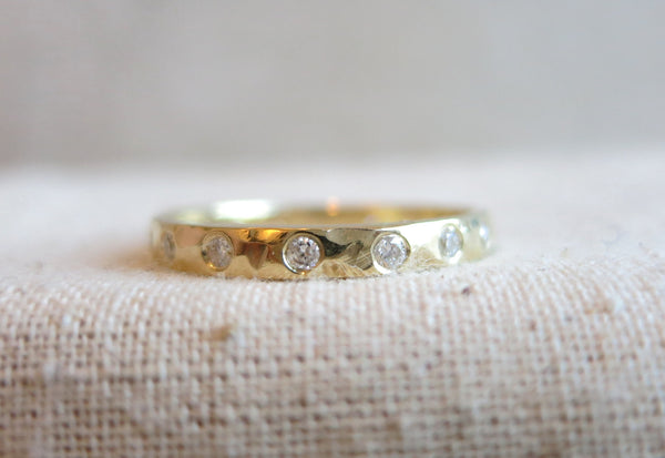 Hammered White Diamond Eternity Band