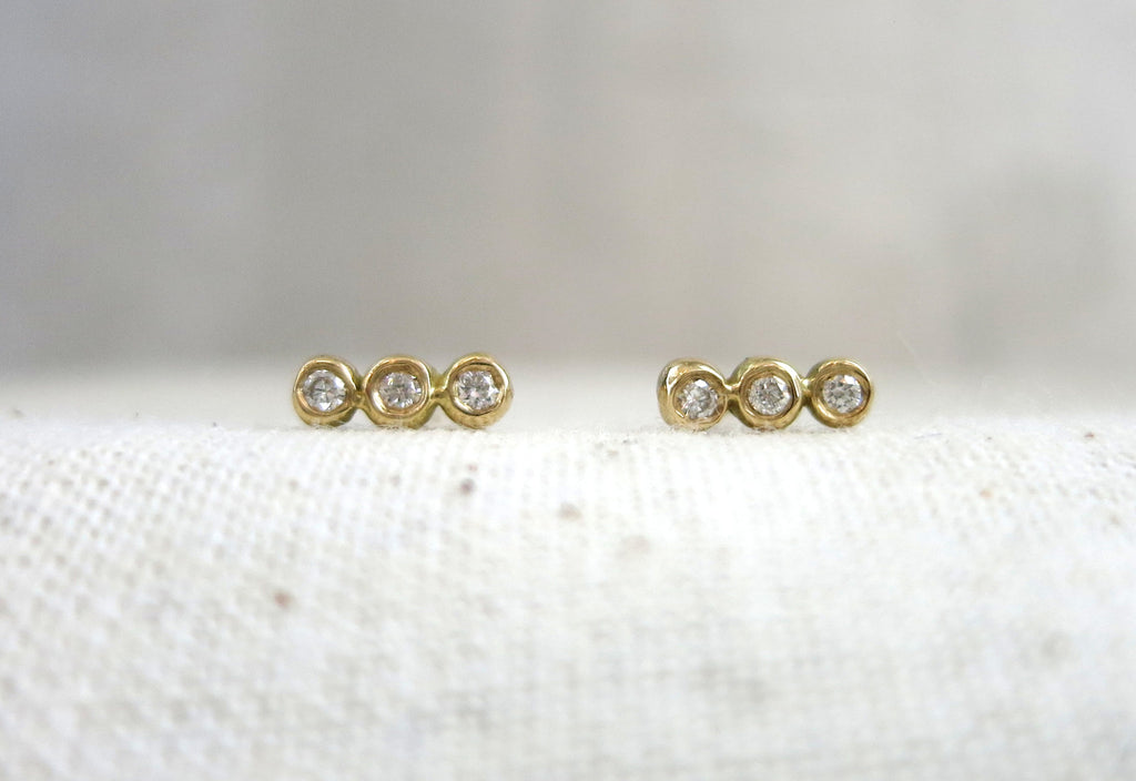 Three Droplet Diamond Studs