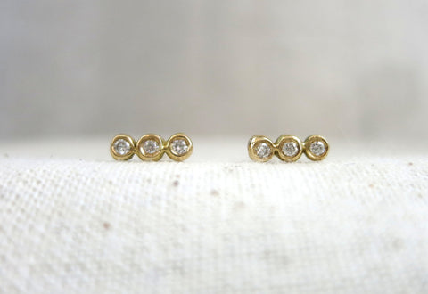 Three Droplet Gold Studs