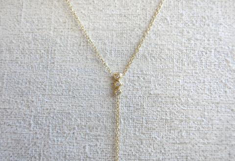 Three Droplet Diamond Drop Necklace