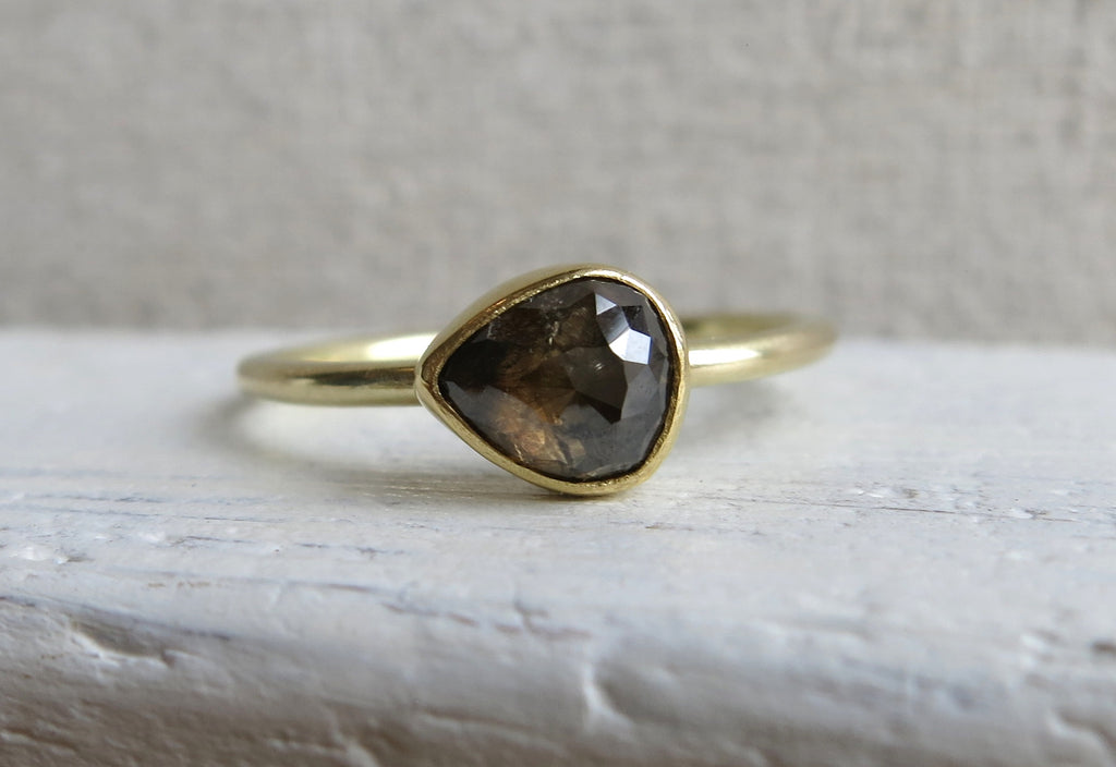 Smokey Champagne Rose Cut Diamond Ring