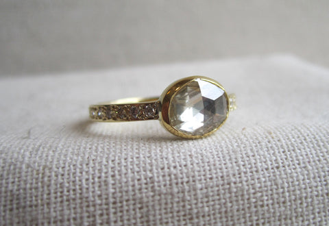 Oval Rose Cut Bezel Ring