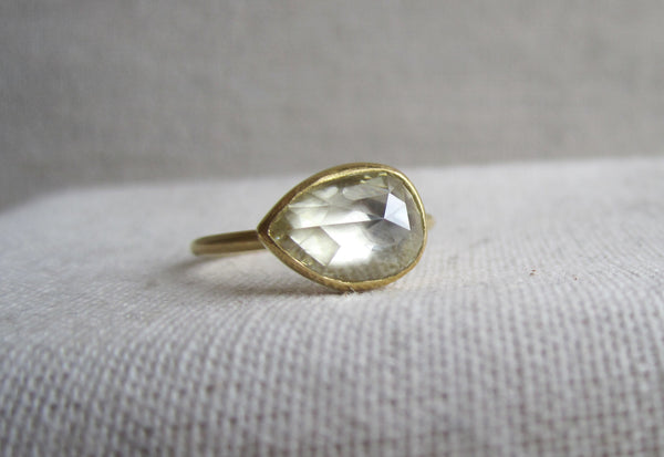 Pear Shaped Rose Cut Diamond Ring