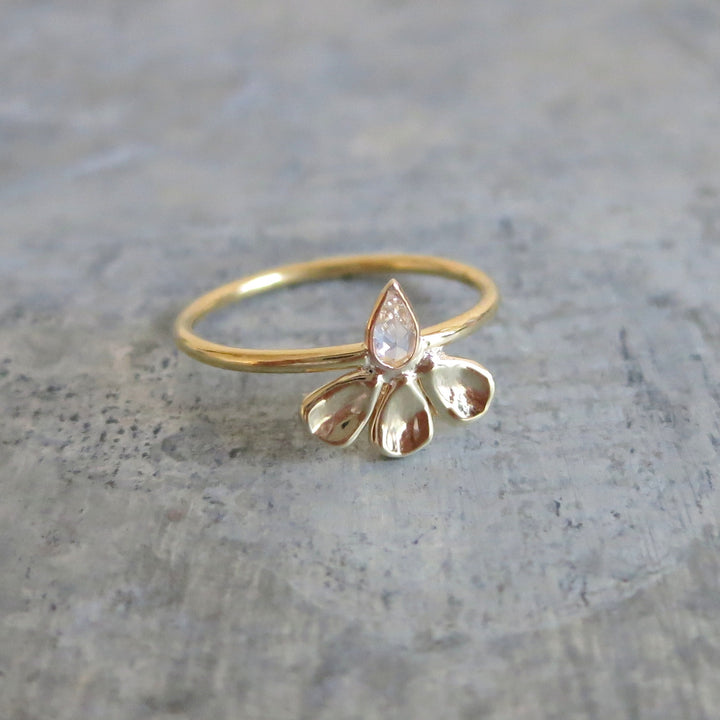Shasta Ring | White Pear Shape Rose Cut