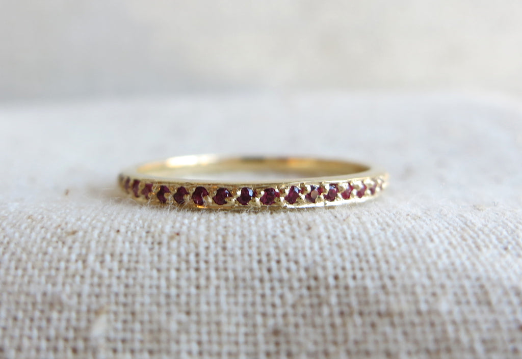 Pave Ruby Eternity Band