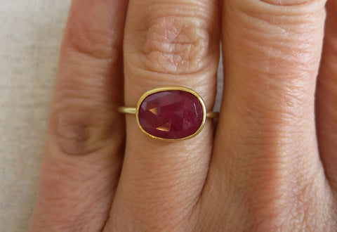 Rose Cut Ruby Ring