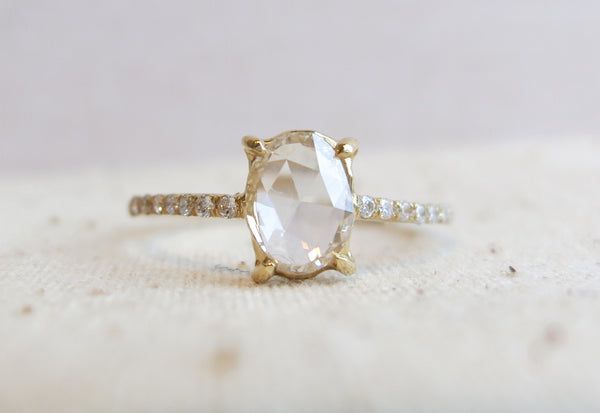 Oval Rose Cut Diamond Pave Ring