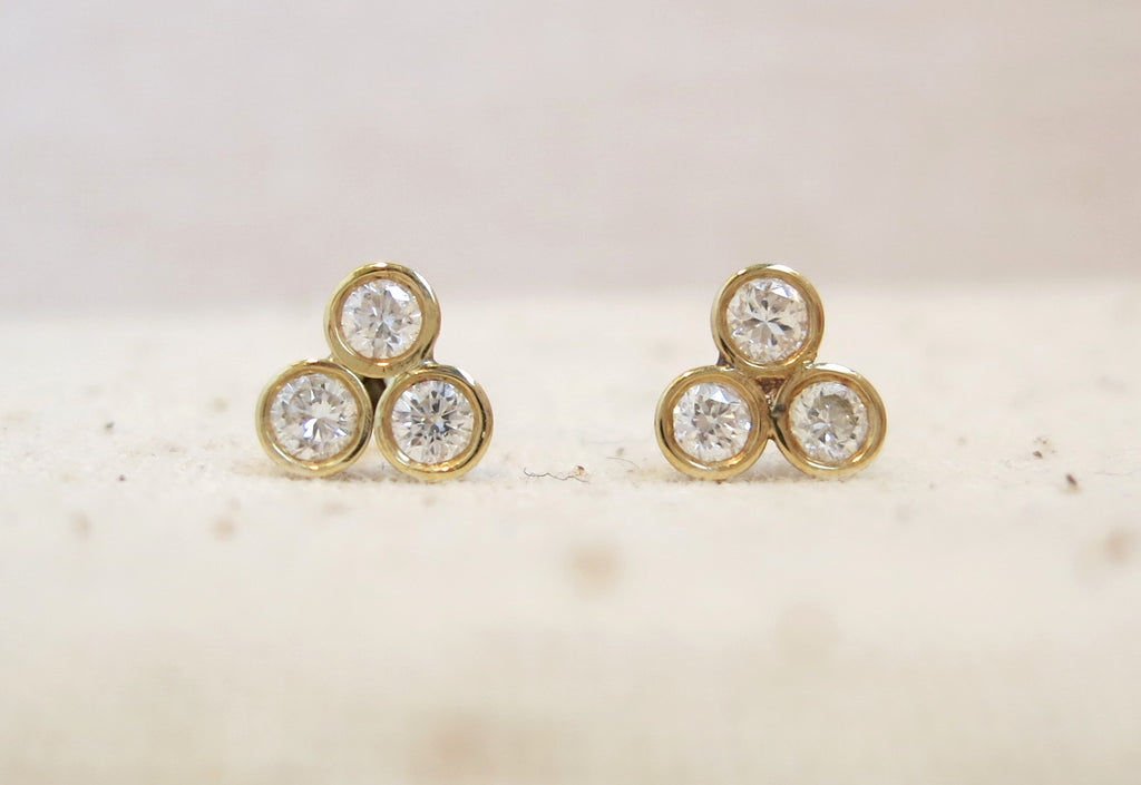 Triple Diamond Studs