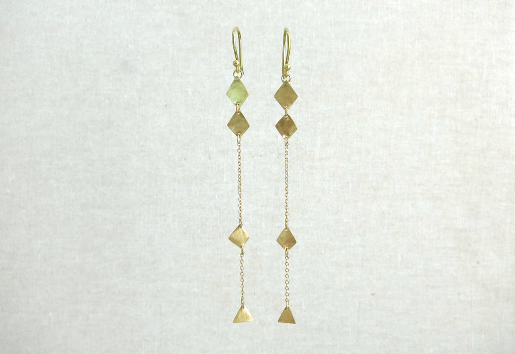 Triple Diamond and Pryamid Shape Strand Earrings