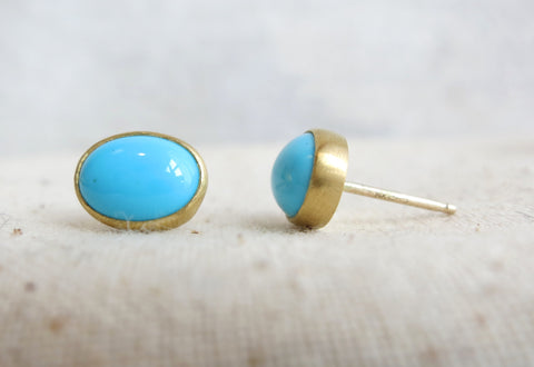 Oval Turquoise Studs