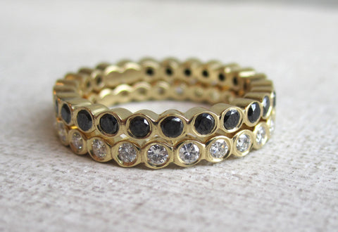 Small Bezel Eternity Band | Black Diamond