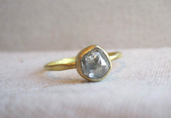 rough diamond ring hammered