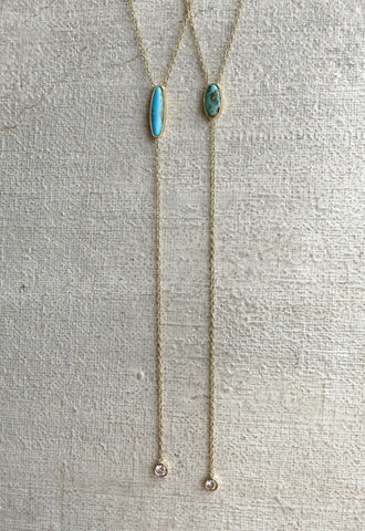 Turquoise and Diamond Drop Necklace