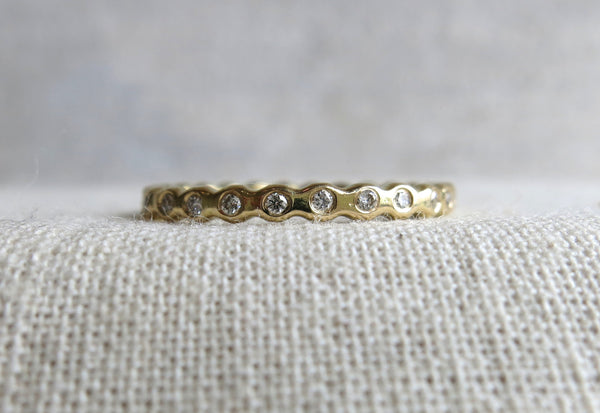 Hammered Beaded Diamond Band