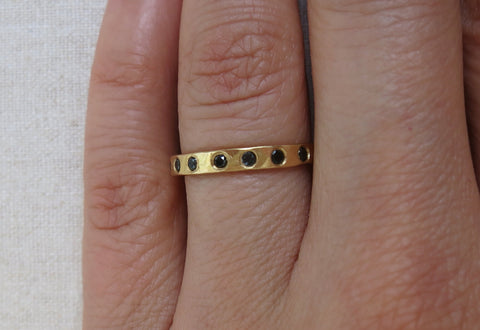 Hammered Black Diamond Eternity Band