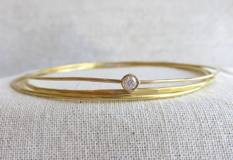 Thin Gold and Diamond Bangle