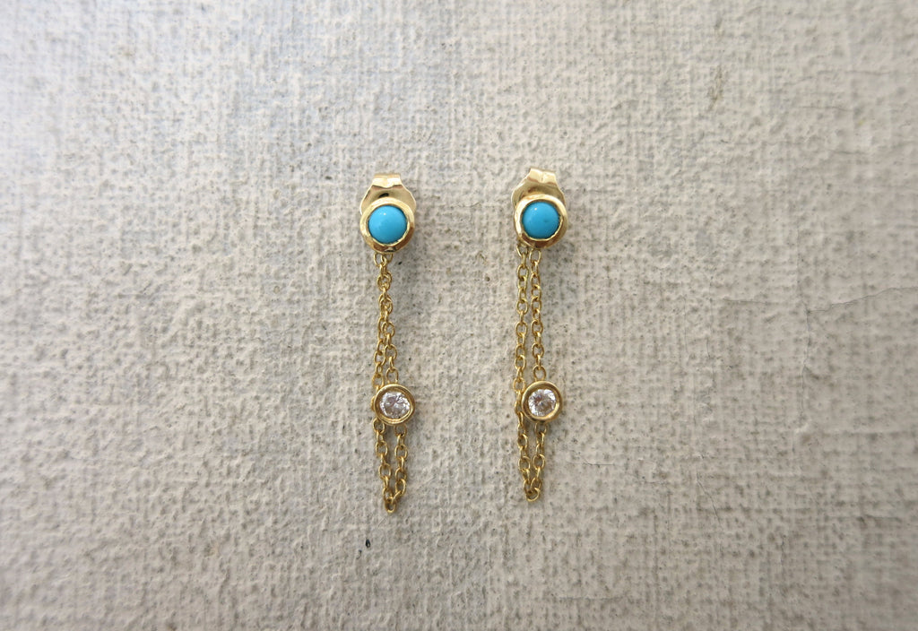 Turquoise and Diamond Loop Earrings