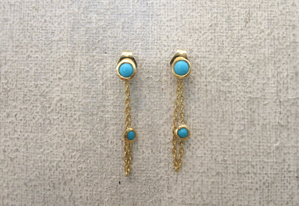 Double Turquoise Loop Earrings