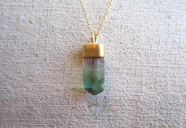 Rough Rainbow Tourmaline Necklace