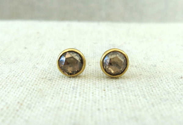 Rose Cut Champagne Diamond Studs
