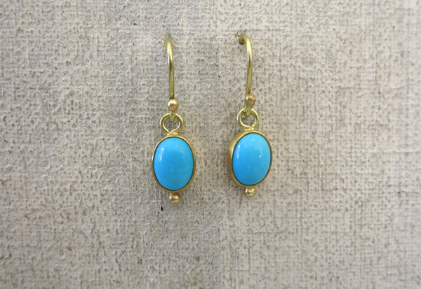 Turquoise and Gold Droplet Earrings