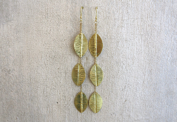 Triple Leaf Drop Earrings