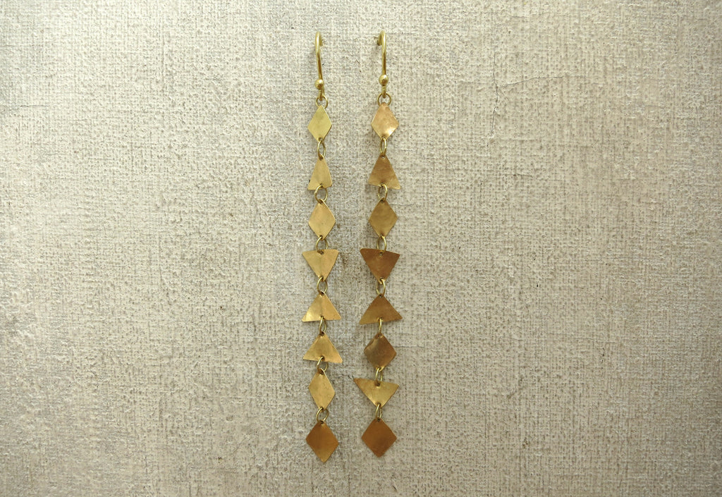 Pyramid and Diamond Shape Strand Earrings