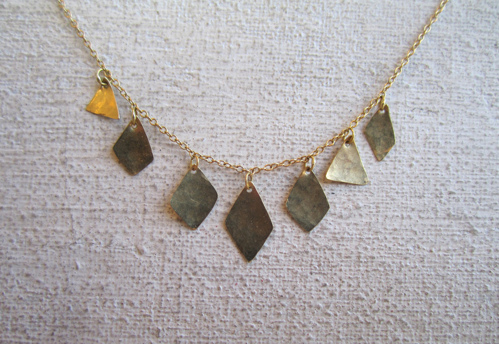 Extra Long Pyramid and Diamond Shape Necklace